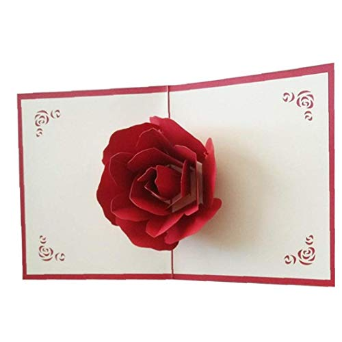 Big Rose 3D Pop Up Greeting Cards Fantastic Flower Handmade Gift Card Origami & Kirigami for Valentine's Day Birthday Anniversary Invitation Wedding Love Gifts