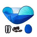 LHY DECORATION Hamaca de Camping con Mosquitera Tiendas de Hamacas de Viaje Portátiles para Muebles de Camping Accesorios de Interior y Exterior,Blue+Sky Blue