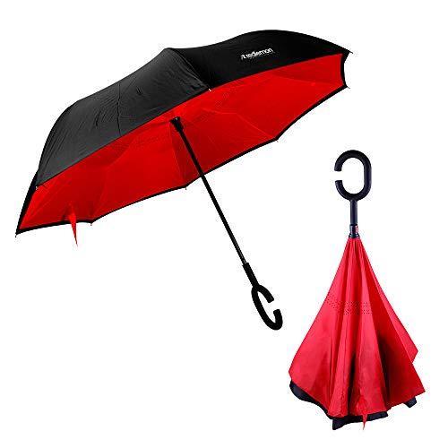 Redlemon Paraguas Invertido con Doble Refuerzo, Sombrilla Resistente a Vientos y Lluvias Fuertes, Mango Ergonómico en Forma C,...