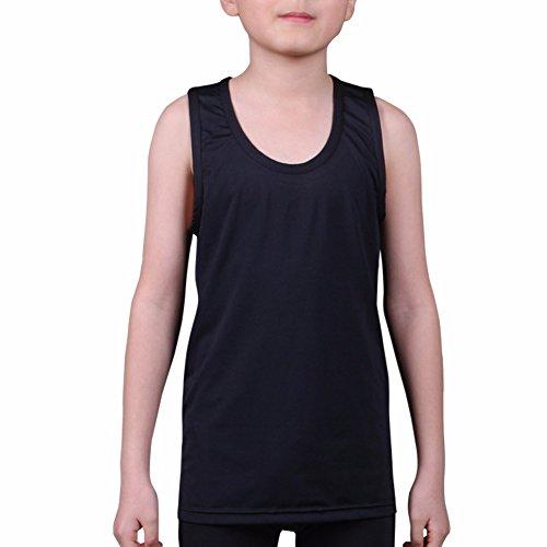 Henri maurice Kids Compression Tank Top Underwear Boys Youth Base Layer Sleeveless Shirt RK, Black, Medium