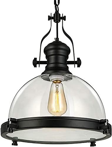 Industrial náutico 15'ancho vidrio colgante luz retro claro lámpara de techo lámpara colgando luz con cadena para la cocina restaurante cafetería sala de estar barra negro (Color : Default)