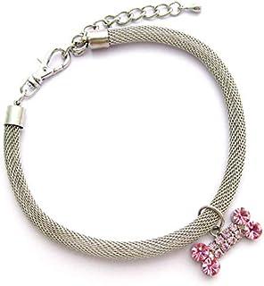 DORLIONA Chains Dog Necklace Collar Bling Rhinestones Bone Charm Pendant Pet Puppy Jewelry 3 Sizes : Pink, S