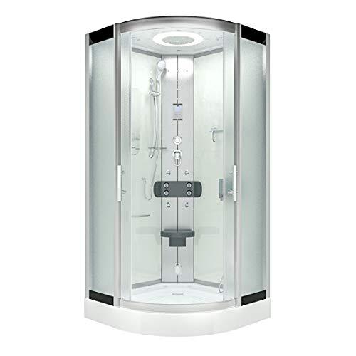 AcquaVapore DTP8046-5012 Dusche Dampfdusche Duschtempel Duschkabine 90x90 XL JA mit 2K Scheiben Versiegelung