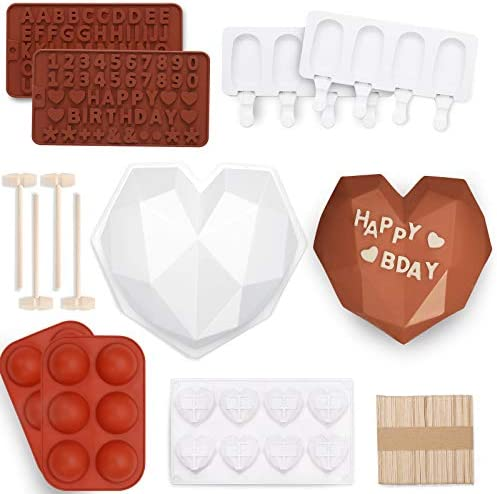 123 Pcs Heart Silicone Molds Set Includes 1x Breakable Heart Mold 1x 8 Cavities Heart Mold 15x product image