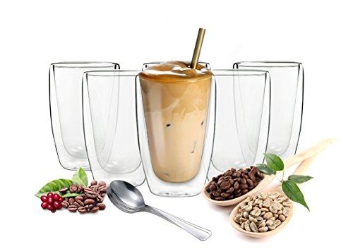 Sendez 6 doppelwandige Cappuccino Gläser 200ml mit 6 Edelstahl-Löffel GRATIS Kaffeegläser Teegläser Gläser Set Thermoglas