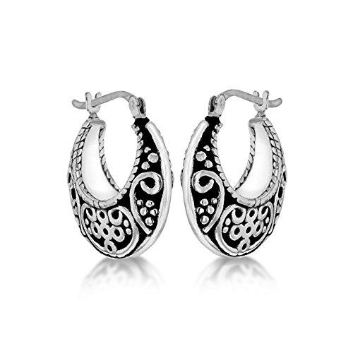 Tuscany Silver Pendientes de aro Mujer plata oxidada fina 925-8.51.2129