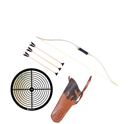 mankitoys Arco infantil de 105 cm, con cordón, 3 flechas con ventosa y diana, carcaj, arco infantil a partir de 5 años, arco para tiro con arco