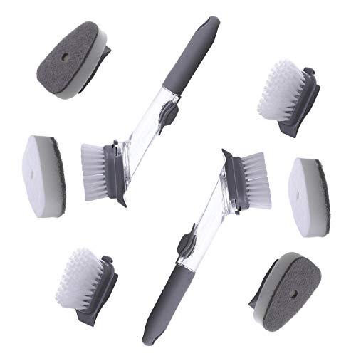 behone 8 STK Spülbürste mit Spülmittelspender, Abwaschbürste Topfbürste mit Ersatzkopf, Spülmittelbehälter Geschirr Bürste für Topf Teller Spülbacken Platte Wäscher