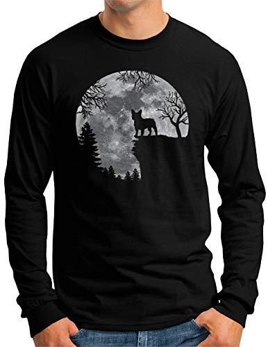 OM3® Französische Bulldogge Langarm Shirt | Herren | Full Moon Dog French Bulldog | Schwarz, XXL