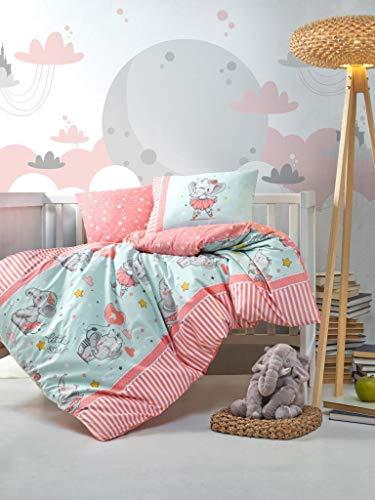 Cotton Box Juego de funda nórdica para bebé, diseño de elefante,