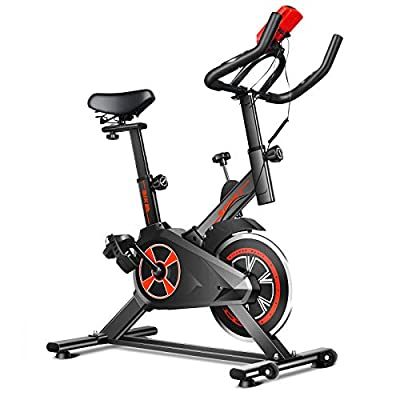 GYMAX Stationary Exercise Bike, Indoor Cycling Bike with Heart Sensor & LCD Monitor, Cardio Training Workout for Home/Gym (Black+Red)