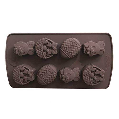 ShiftX4 Bandeja para cubitos de hielo, 8 cavidades de huevo de Pascua y chocolate, molde de silicona para galletas de dulces, molde para cubitos de hielo