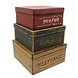 CVHOMEDECO. Primitivos Cuadrados Antiguos Fotos, Recuerdos, Recuerdos Cajas Nido de Cartón, Grandes 27,9 x 27,9 x 14 cm. Juego de 3.