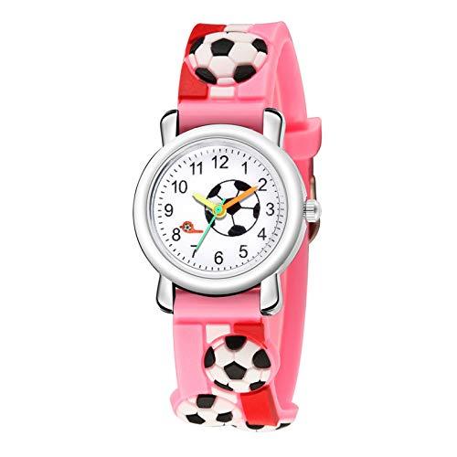 MZRI Children's Watch Football Element Quartz Watch Colorful Camouflage Watchband Wrist Watch Christmas Birthday'S Gift for Kids (Pink)