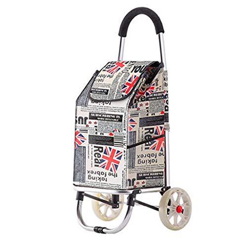 LQBDJPYS Großer, zusammenklappbarer, leichter Einkaufstrolley mit Rädern, faltbarer Schubkarre, Gepäcktasche mit 2 Rädern