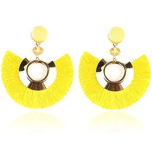 PULABO Bohemio exagerado retro abanico borla pendiente para mujeres amarillo exquisito trabajo...