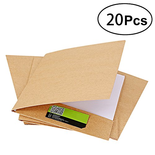 TOYMYTOY Kraft Dokumentenmappe A4 Ordnungsmappe File Folder, Ränder aus Karton, 20 Stück, braun