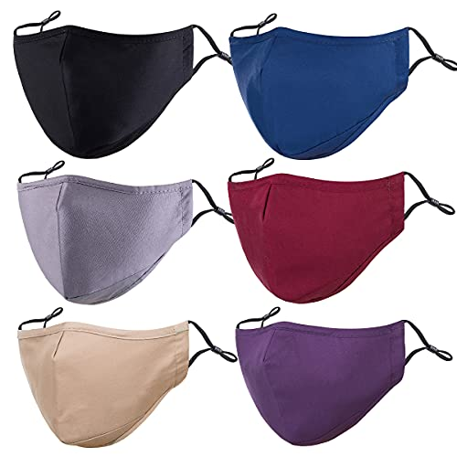 PAGE ONE Unisex Cotton Cloth Face Masks Reusable Washable,Anti-Fog Dust-Proof Mouth Cover/6PC