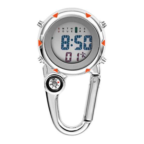 BESPORTBLE Mini-Clip Ultraleichtuhr Rucksack Taschenanhänger Gürtel Uhr im Dunkeln Leuchten Unisex Taschenuhr für Ärzte Krankenschwestern Outdoor-Aktivitäten Orange