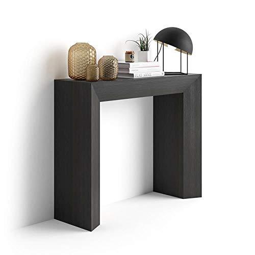 Mobilifiver Mesa Consola, Modelo Giuditta, Color Negro Ceniza, 90 x 30 x 75 cm