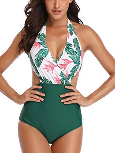 Summer Mae Damen Badeanzug V-Ausschnitt Monokini Neckholder Rückenfrei Einteiliger Bademode Bedruckt Sexy Cutouts Bauchweg Bikini Grün XL