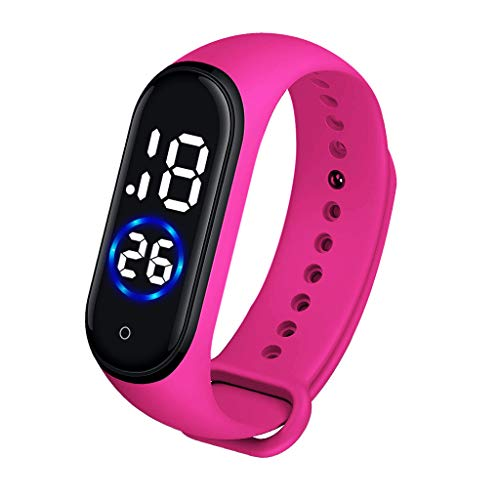 Bokeley Sports Watch, Fashion Digital LED Sports Watch Unisex Silicone Band Wrist Watches Men Women (Hot Pink)