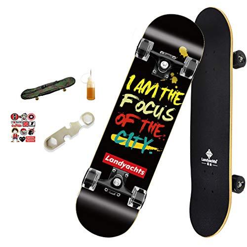 SSYC Komplette Skateboards - Standard Skateboards PU-Räder Lager Für Anfänger Starter Kinder Jungen Mädchen Jugend - 30,9