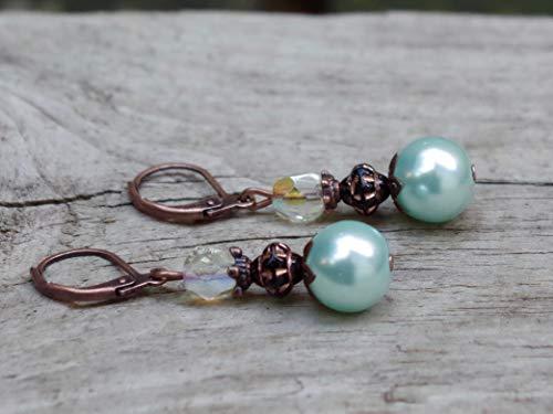 NEU! Vintage Ohrringe mit böhmischen Glasperlen/Glaswachsperlen - hellblau, schwarz, lemon chiffon AB & kupfer