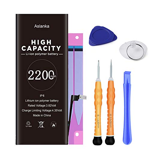 Aslanka Battery for Model iPhone 6, High Capacity 2200mAh Battery Replacement with Repair Tool Kit and Instructions -2 Years Warranty