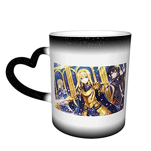 Sword Art Online - Taza cambiante de color sensible al calor, taza cambiante en el cielo mágica arte divertido tazas de café taza de cerámica regalos personalizados-negro
