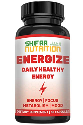 Energize, Best Daily Energy Pills for Women & Men by SHIFAA NUTRITION | Metabolism | Mood | Focus | Brain Energy | Caffeine, Ginseng, Taurine, B1, B2, B5, B6, B7, B9, B12 | Jitter Free | 60 Servings