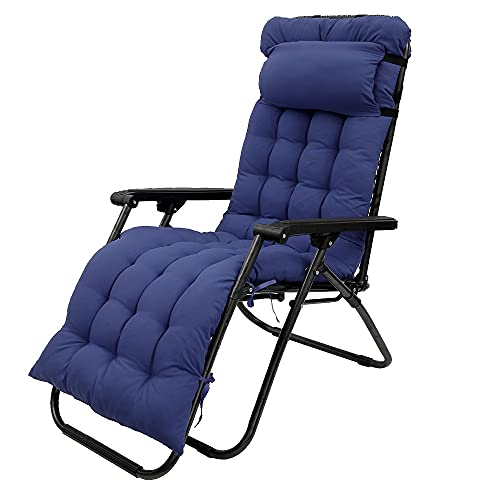 Patio Lounge Chair Cushion, Indoor/Outdoor Sun Lounger Pad Thick Replacement with Headrest Non-Slip Elastic Belt and Ties Garden High Back Relaxer Chair Cushions( No Chairs) (Navy Blue, 1Pcs)