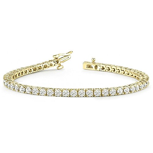 Sterling Silver Mens Womens Unisex Round Diamond 1 Row Tennis Bracelets (1.00 Ct)