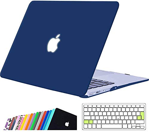 iNeseon MacBook Air 13-inch Case Cover,Ultra Slim Hard Shell Protective Case with Keyboard Cover for 2010-2017 MacBook Air 13 (Model A1466 A1369, Size 32.5 x 22.7cm), Navy Blue