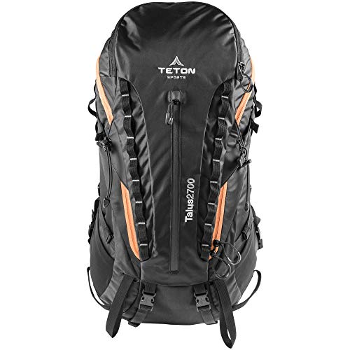 TETON Sports Talus 2700 Backpack; Lightweight Hiking Backpack for Camping, Hunting, Travel, and Outdoor Sports; Included Poncho Covers You and Your Pack from Rain or Use it as a Shelter