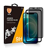 TANCELL PRIVACY Screen Protector Compatible with iPhone 12 Compatible with iPhone 12 Pro [2 Pack] 3D 30°Anti-spy Privacy Japanese Tempered Glass [Delicate Touch] 6.1-Inch 2020 with Installation Frame!