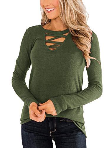 Minclouse Women's Criss Cross Long Sleeve Tunic Tops Choker Cutout Chest Blouse Shirts Casual Cute Pullover Sweatshirts Army Green