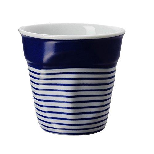 Revol RV646083 Tasse Espresso froissé, Porcelaine, Blanc et Bleu, 6,5 x 6,5 x 6 cm
