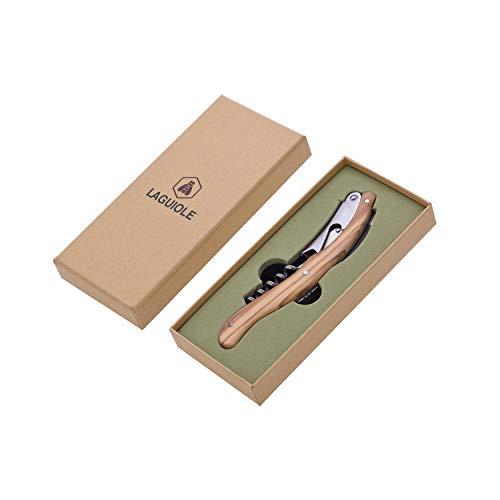 LAGUIOLE - Sommelier - Manico in legno d'ulivo - Cavatappi, Tagliacapsule e Apribottiglie - Confezione regalo - acciaio inossidabile - marrone chiaro