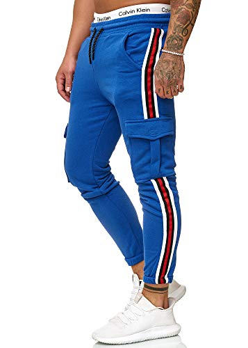 OneRedox Herren | Jogginghose | Trainingshose | Sport Fitness | Gym | Training | Slim Fit | Sweatpants Streifen | Jogging-Hose | Stripe Pants | Modell 1224 Blau M