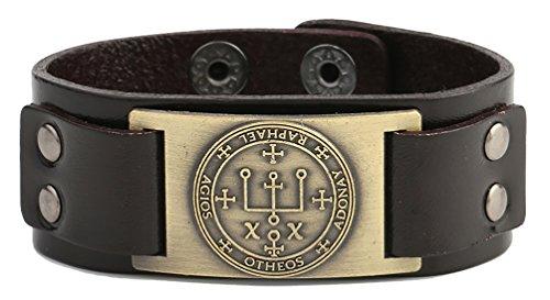 Lemegeton - Pulsera de cuero marrón oscuro con amuleto gótico enoqui