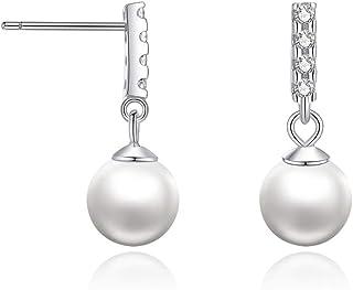 Pendientes de plata 925 perla y diamante cortos, pendientes para niñas, seguros y no alergénicos, joyería personalizada, e...