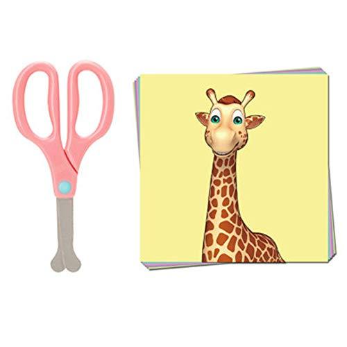 Kinderveiligheidsschaar kleuterschool handgemaakte schaar ronde kop zonder mes doet geen pijn handen baby-papiersnijder set,Pink