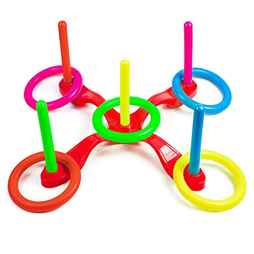 LUCWI Ring Toss Game Set, Outdoor & Indoor Fun Games Develops Your Eye-Hand Coordination Skills, Great Toys Birthday for Kids Family Friends, Red