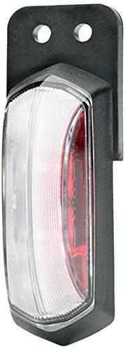 HELLA 2XS 205 020-121 LED-Umrissleuchte, rot / glasklare Lichtscheibe, 12, V, Gummipendel, AMP SS schwarz, schwarzer Rahmen für Direktverschraubung