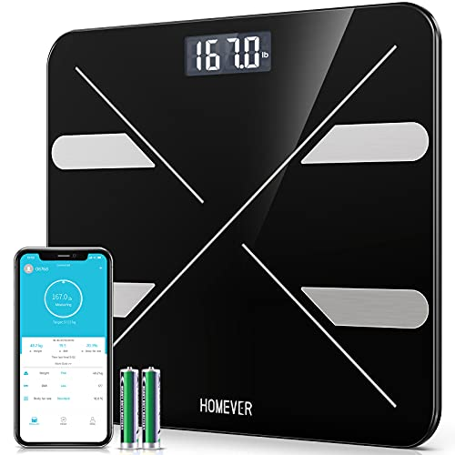 Bluetooth Body Fat Scale, Homever Smart BMI Scale Digital Bathroom Wireless Weight Scale, Body Composition Analyzer with Smartphone APP, 8mm Tempered Glass Platform, 400 lbs - Black