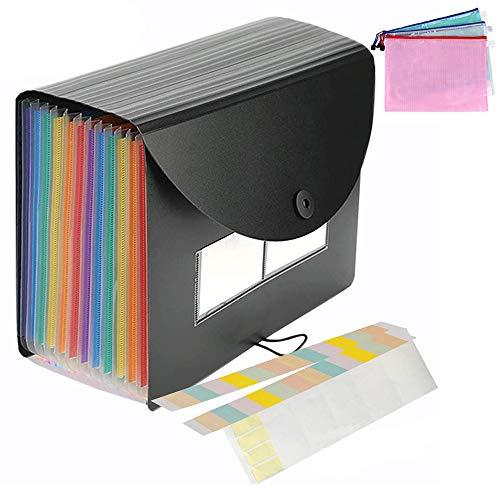 MonQi 24 Bolsillos Expandible Clasificadores Carpetas de Acordeón con Capa + 3 * Bolsa de Archivo de cremallera para A4 Documento,Expandible Carpetas Archivadoras, Rainbow Carpeta Clasificadora 🔥
