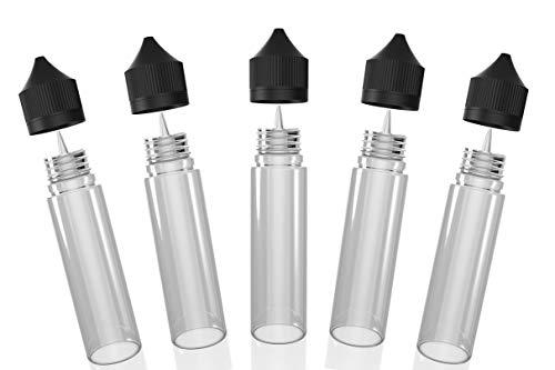 Chubby Gorilla V2 60ml PET Einhorn Plastikflaschen für Flüssigkeiten, Öle und E-Liquid - Leere Tropfflaschen - 5X 60ml (Transparente Flasche mit schwarzem Deckel)