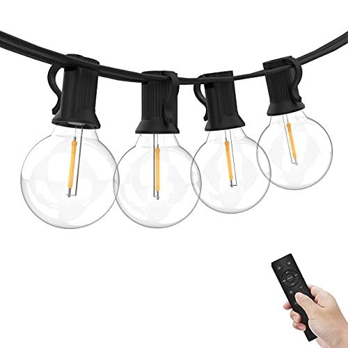 Yuusei Guirnaldas Luminosas de Exterior Regulable, 7.62M Guirnaldas Luces Exterior de Control Remoto, 12+1 LED IP45 Impermeable Cadena de Luces para Jardín, Navidad(Blanco Cálido)