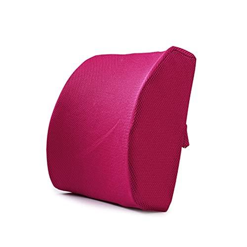 TOPHUHAI Memoria de Coches Espuma Lumbar Cojín Lumbar Atrás Soporte de Cintura Pillow Almohada Coche Almohadas Hogar Almohadas Inicio Oficina Back Rest Accesorios DE Coche (Color : Rosa roja)